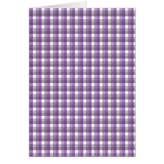 Gingham check pattern. Purple, Gray, White. Card