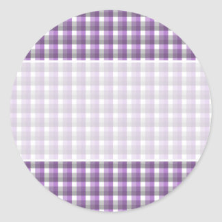 Gingham check pattern. Purple, Gray, White. Classic Round Sticker