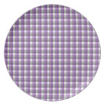 Gingham check pattern. Purple, Gray, White. Party Plate