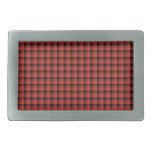 Gingham check pattern. Red and Black Plaid Belt Buckle