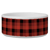 Gingham check pattern. Red and Black Plaid Bowl