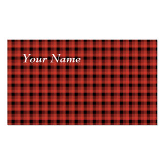 Gingham check pattern. Red and Black Plaid Business Card