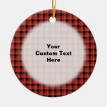 Gingham check pattern. Red and Black Plaid Ceramic Ornament