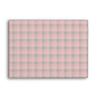 Gingham check pattern. Red and Black Plaid Envelope