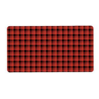 Gingham check pattern. Red and Black Plaid Label