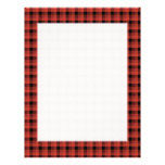 Gingham check pattern. Red and Black Plaid Letterhead