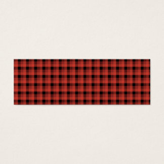 Gingham check pattern. Red and Black Plaid Mini Business Card