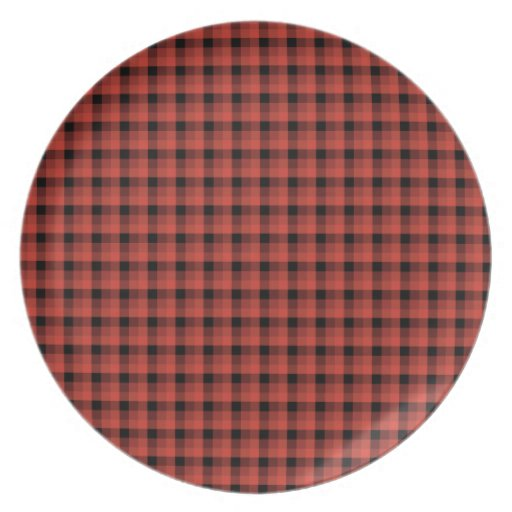 Gingham check pattern. Red and Black Plaid Party Plate