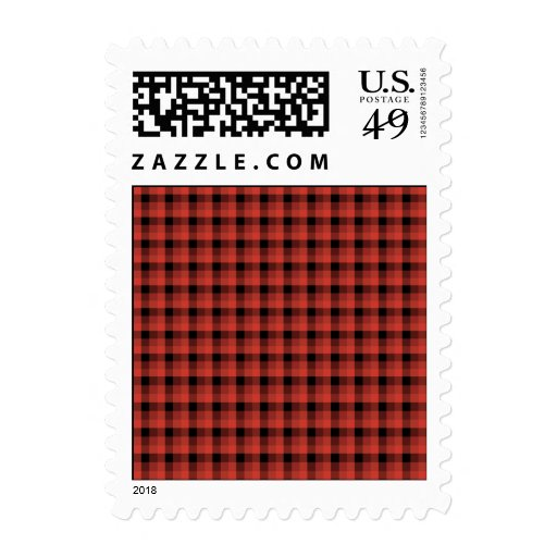 Gingham check pattern. Red and Black Plaid Postage Stamp