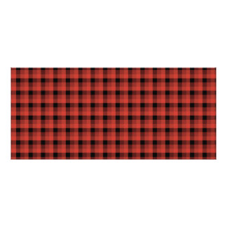 Gingham check pattern. Red and Black Plaid Rack Card Template
