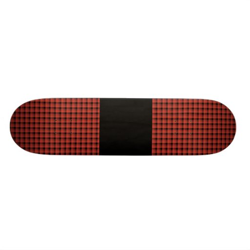 Gingham check pattern. Red and Black Plaid Skateboards