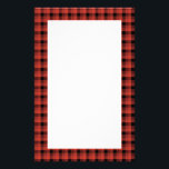 """Gingham check pattern. Red and Black Plaid Stationery<br><div class=""""desc"""">Check pattern in red and black.</div>"""