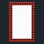 "Gingham check pattern. Red and Black Plaid Stationery<br><div class=""desc"">Check pattern in red and black.</div>"
