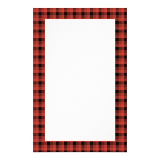 Gingham Check Pattern Red And Black Plaid Stationery