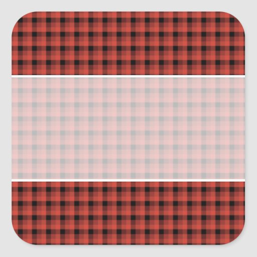 Gingham check pattern. Red and Black Plaid Square Stickers