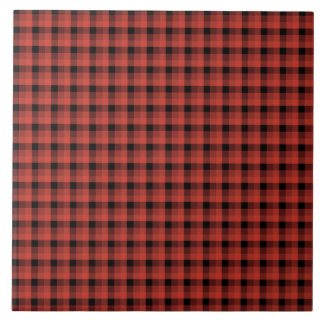 Gingham check pattern. Red and Black Plaid Tiles