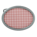 Gingham check pattern. Red and White. Belt Buckle