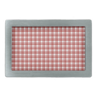 Gingham check pattern. Red and White. Belt Buckles