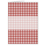 Gingham check pattern. Red and White. Greeting Cards