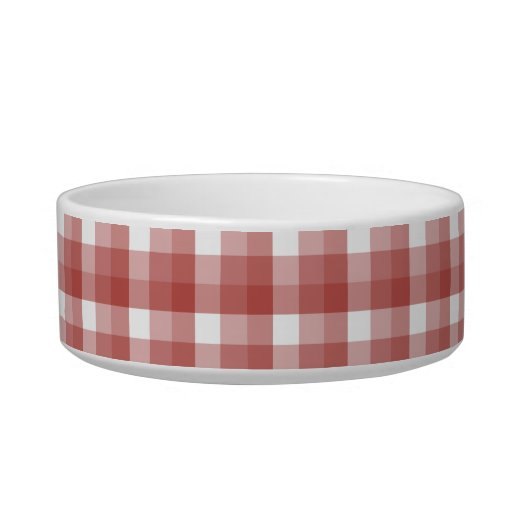 Gingham check pattern. Red and White. Cat Bowls