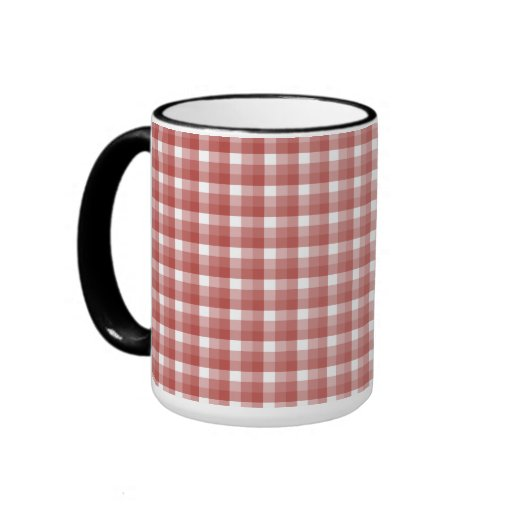 Gingham check pattern. Red and White. Coffee Mug