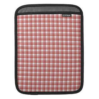Gingham check pattern. Red and White. iPad Sleeves