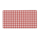 Gingham check pattern. Red and White. Personalized Shipping Label