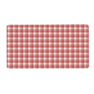 Gingham check pattern. Red and White. Label