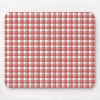 Gingham check pattern. Red and White. Mouse Pad