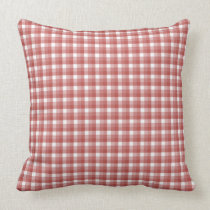 Gingham check pattern. Red and White. Throw Pillows