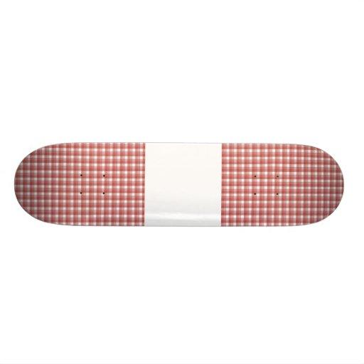 Gingham check pattern. Red and White. Custom Skateboard