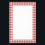 "Gingham check pattern. Red and White. Stationery<br><div class=""desc"">Gingham check pattern in red and white.</div>"