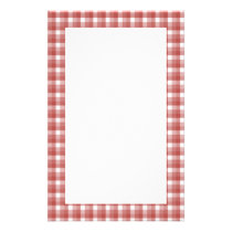 Gingham check pattern. Red and White. Stationery