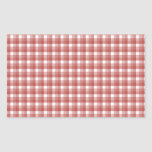 Gingham check pattern. Red and White. Rectangle Sticker