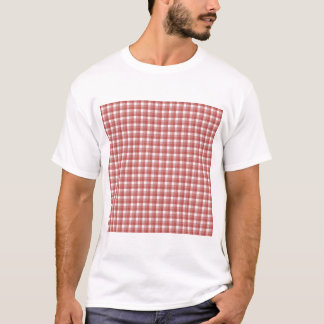 Gingham check pattern. Red and White. T-Shirt