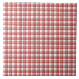 Gingham check pattern. Red and White. Ceramic Tiles