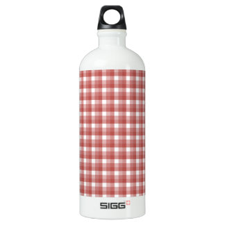 Gingham check pattern. Red and White. Water Bottle