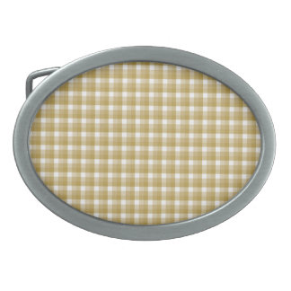 Gingham check pattern. Tan and White. Oval Belt Buckle