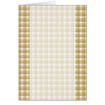 Gingham check pattern. Tan and White. Greeting Card