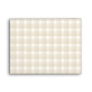 Gingham check pattern. Tan and White. Envelope