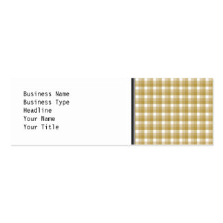 Gingham check pattern. Tan and White. Mini Business Card