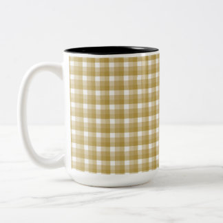 Gingham check pattern. Tan and White. Coffee Mugs