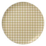 Gingham check pattern. Tan and White. Party Plates