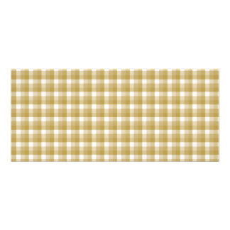 Gingham check pattern. Tan and White. Rack Card Design