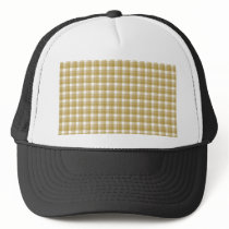 Gingham check pattern. Tan and White. Trucker Hat