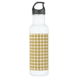 Gingham check pattern. Tan and White. Water Bottle
