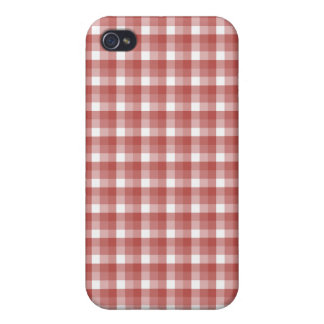 Gingham check pern Red and White iPhone 4/4S Cases
