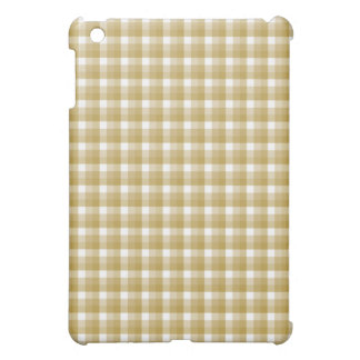 Gingham check pern. Tan and White. iPad Mini Cover