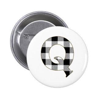 Gingham Check Q Pinback Button