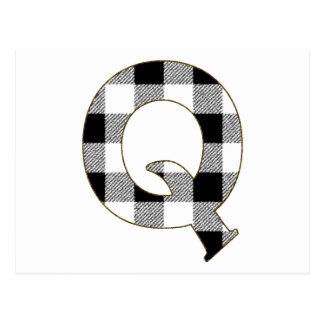 Gingham Check Q Postcard